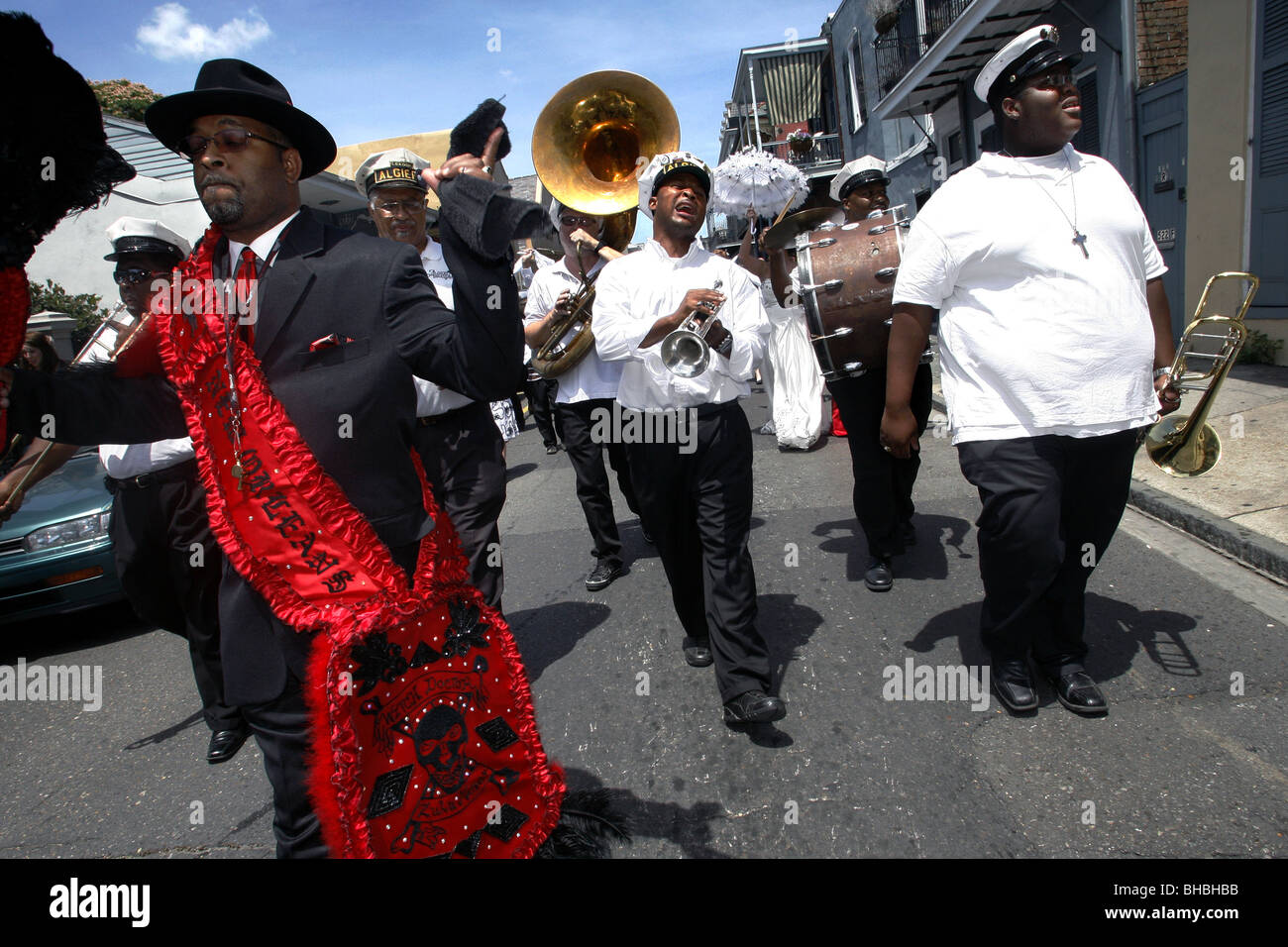 Algiers Brass Band, French Quarter, New Orleans, Louisiana, USA - Stock Image