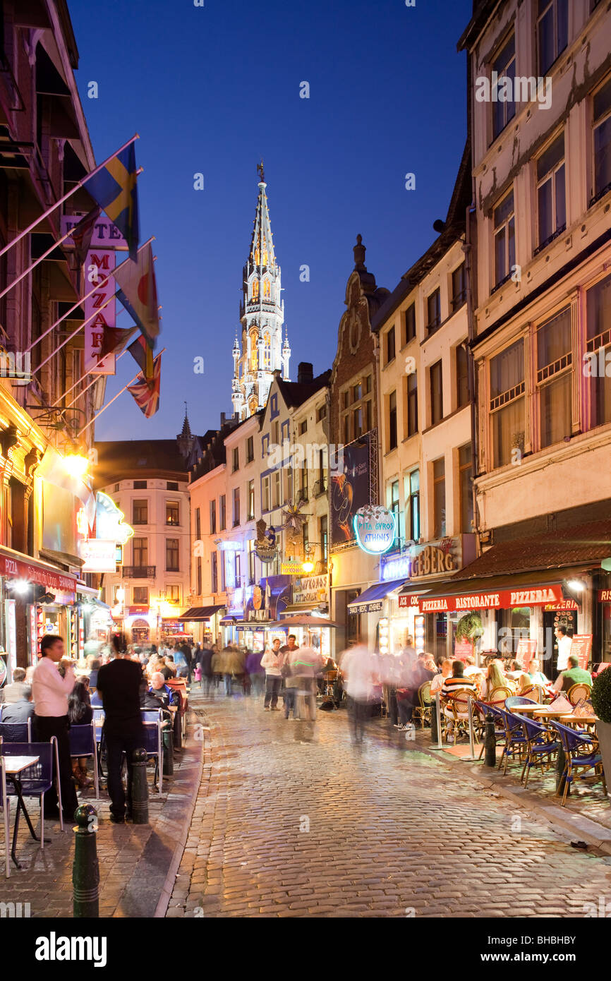 Pavement Cafes viewed at dusk, Brussels Belgium Stock Photo
