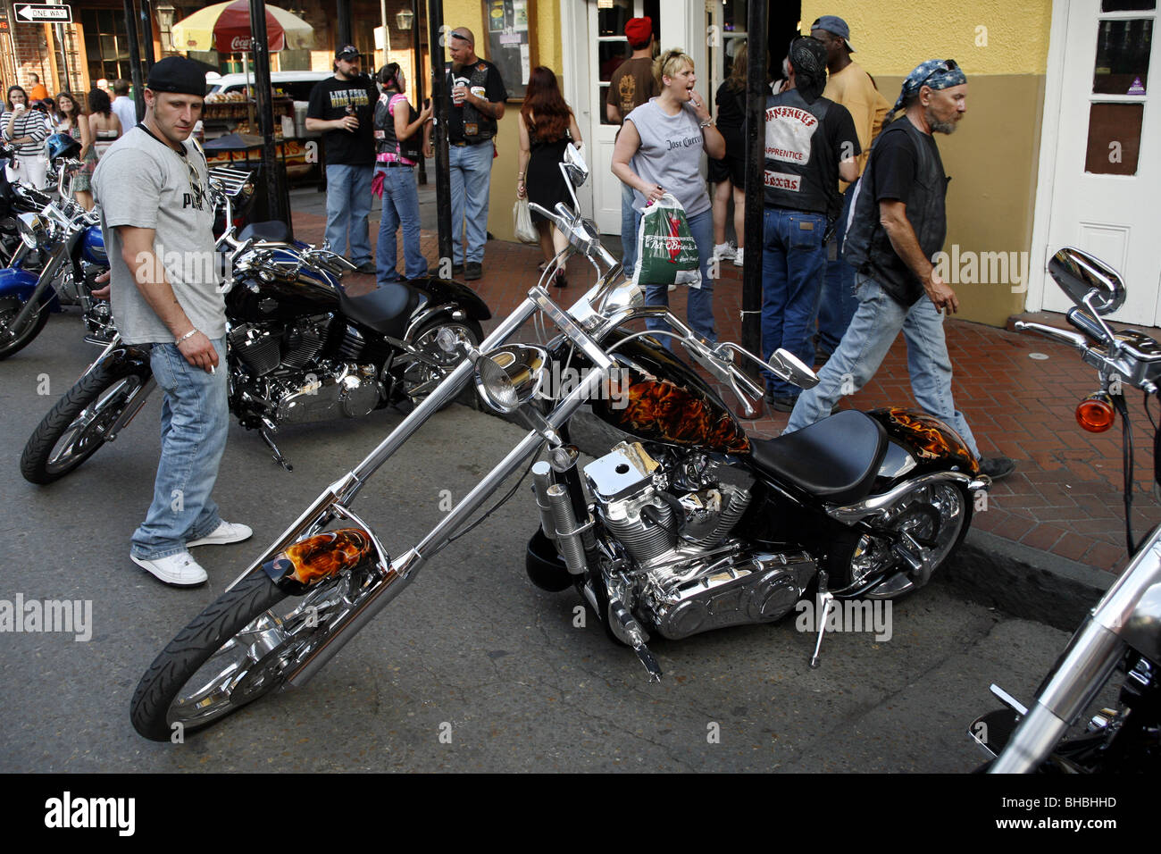 Choppers, Bourbon Street, French Quarter, New Orleans, Louisiana, USA - Stock Image