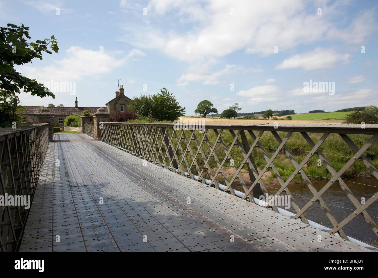 Pedestrian bridge, Ford and Etal, Northumberland, England Stock Photo