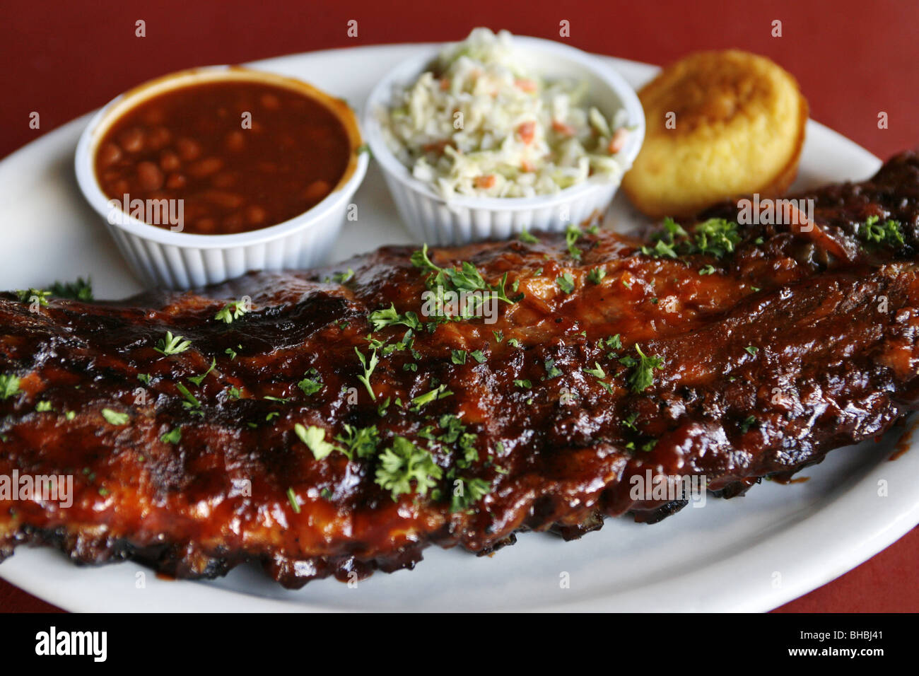 BBQ Rib with Baked Beans & Cole Slaw, B.B. Kings Blues Club, Beale Street, Memphis, Tennessee, USA - Stock Image