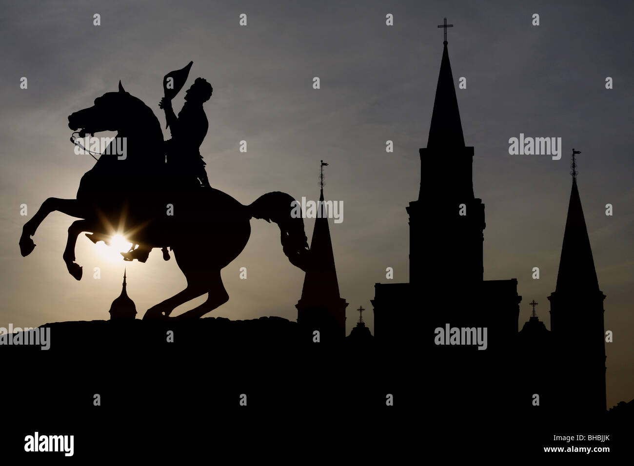 General Andrew Jackson Statue, St. Louis Cathedral, Jackson Square, French Quarter, New Orleans, Louisiana, USA - Stock Image