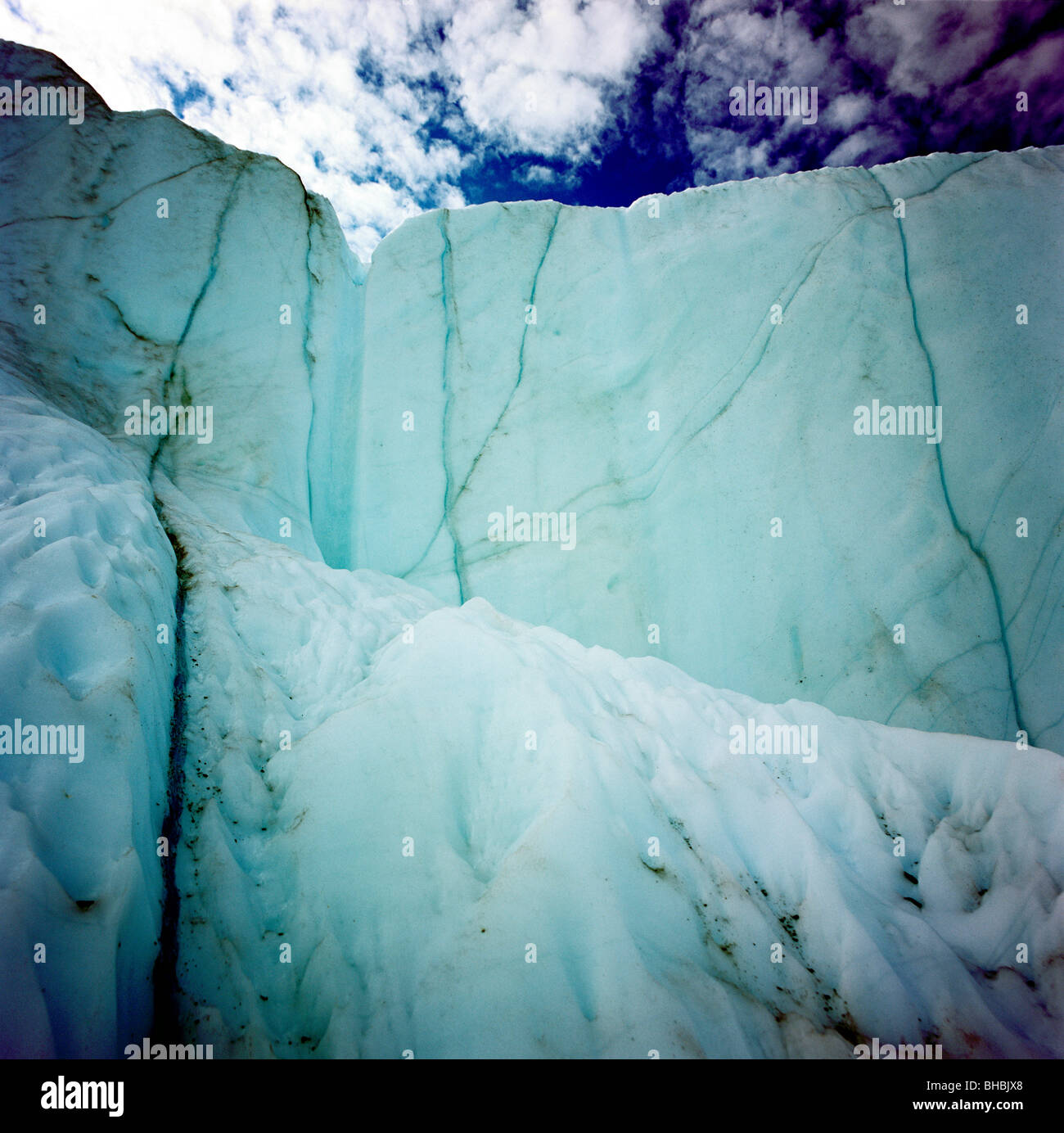 A unique photo from inside a crevasse on the Matanuska Glacier in Alaska where we can see how the glacier is melting - Stock Image