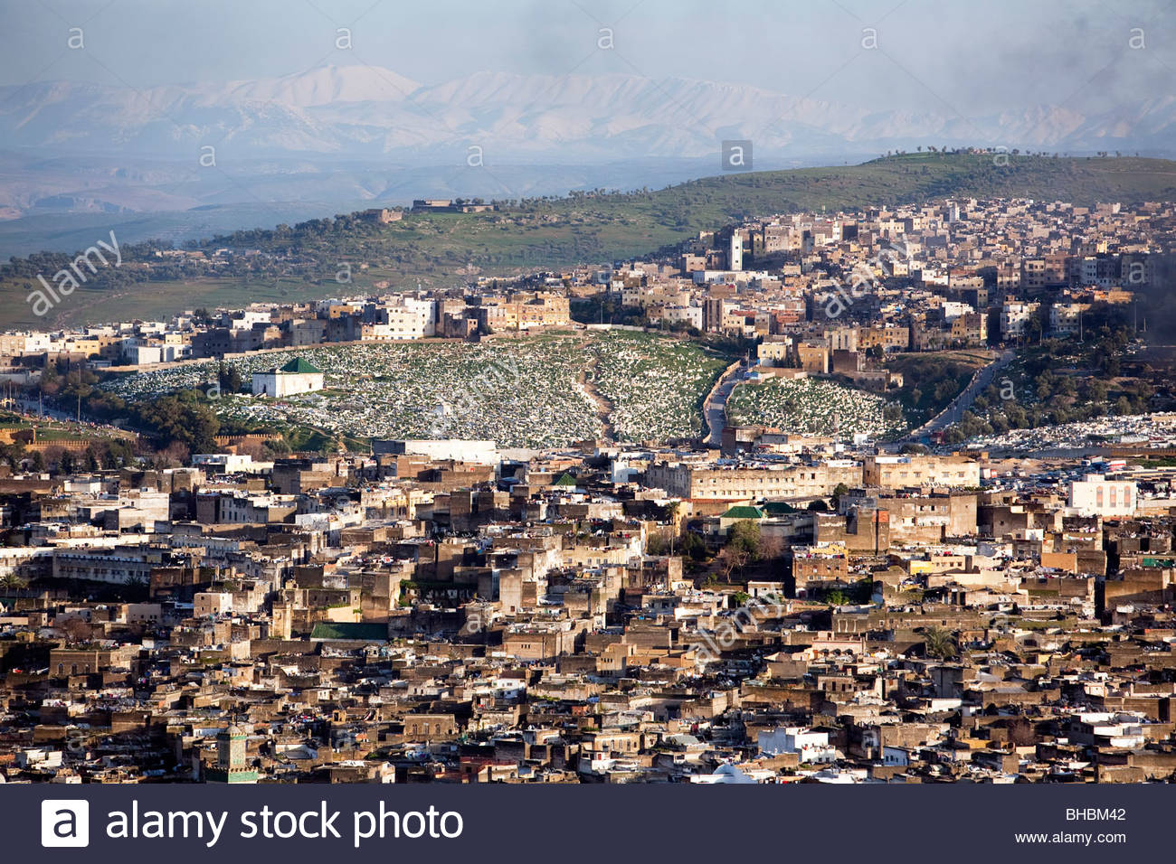 Africa african architecture building buildings City Fes Fez house houses islam Islamic moroccan Morocco mosque muslim - Stock Image