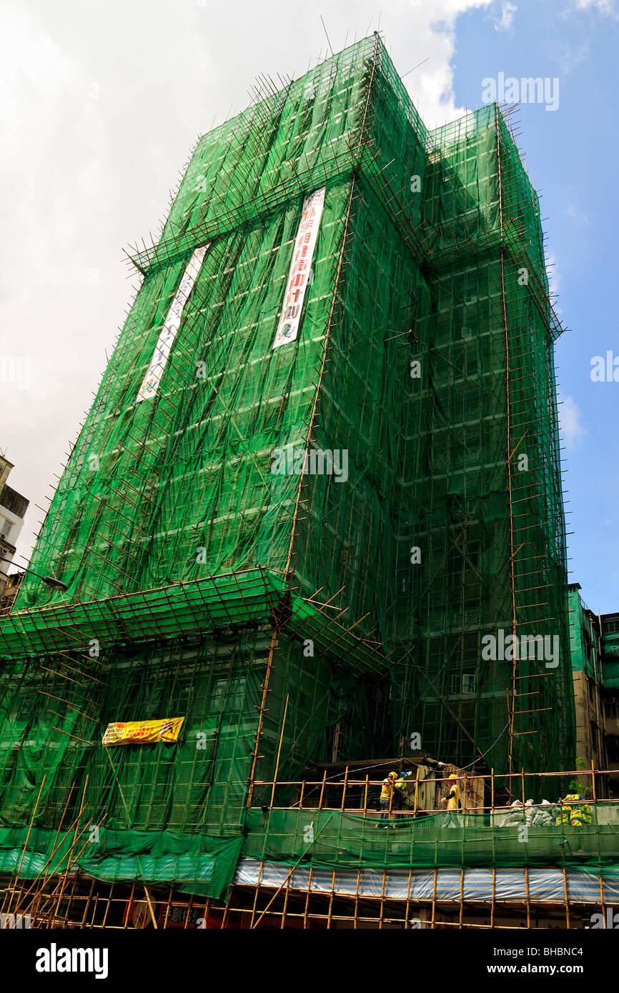 Bamboo Scaffolding use in Building Construction, Hong Kong Stock Photo