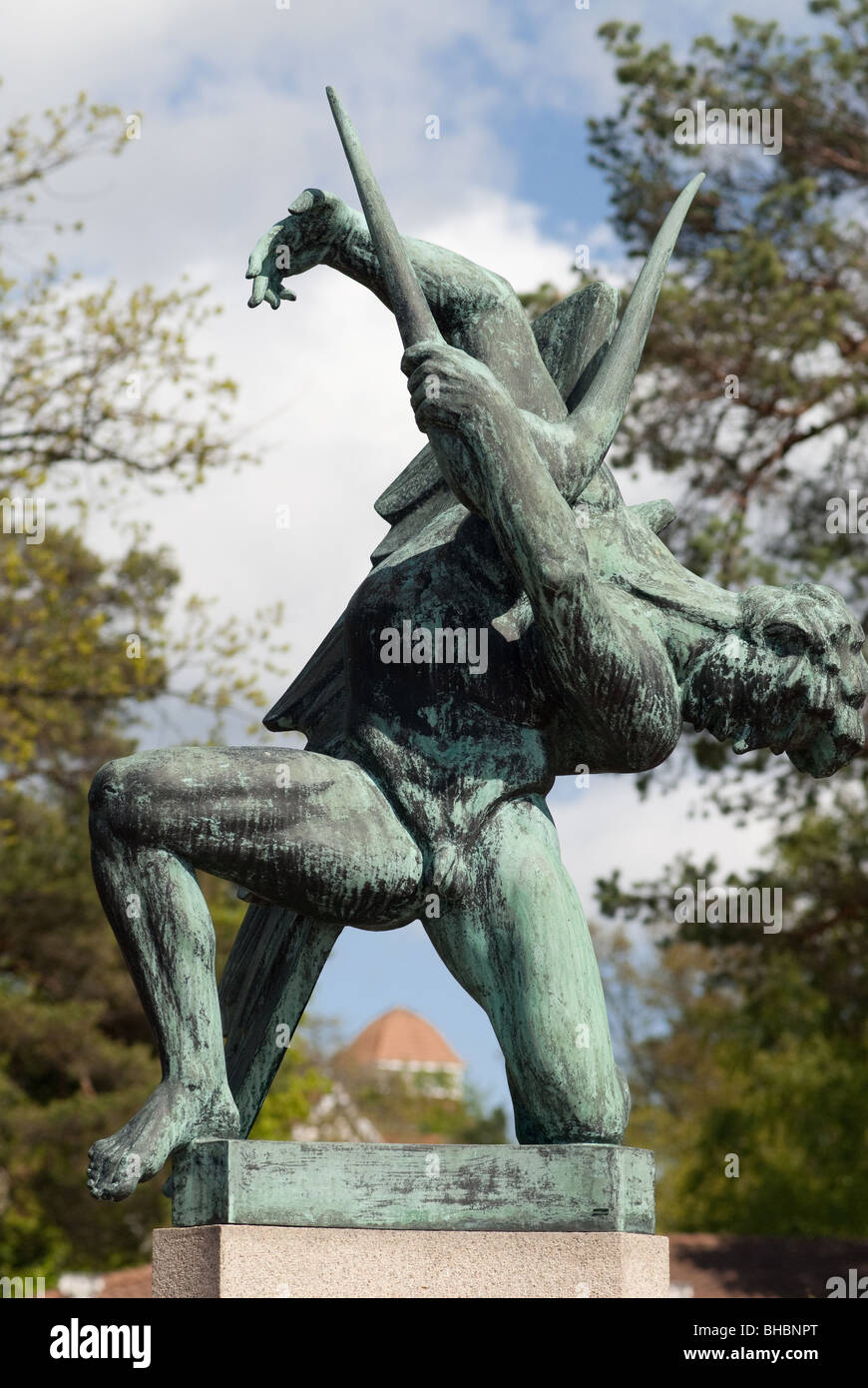 one of the angel musicians sculptures by carl milles in millesgarden - Stock Image