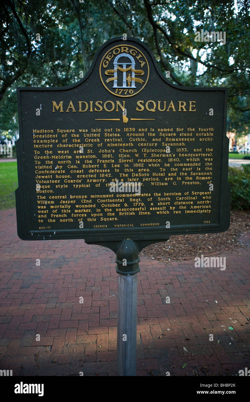 Madison Square  Madison Square was laid out in 1839 and is named for the fourth president of the United States - Stock Image