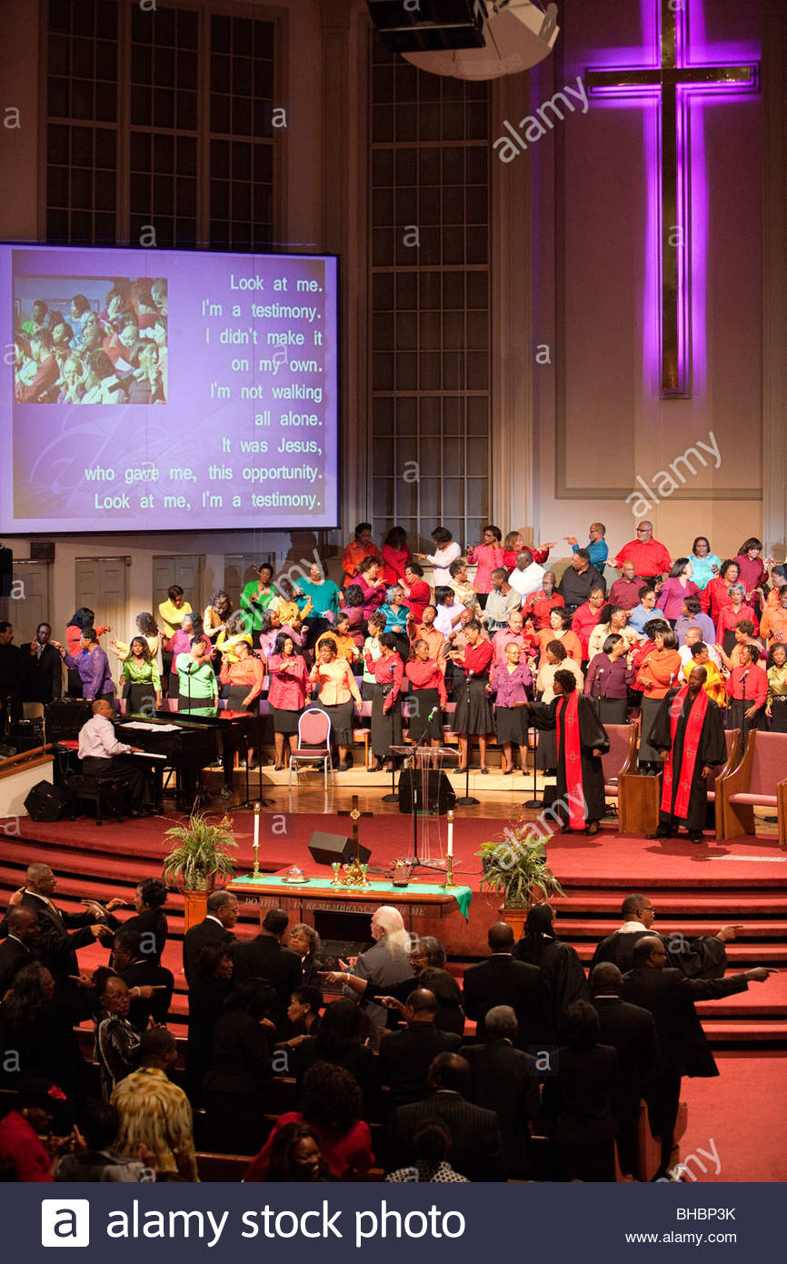 adult America choir female gospel human humans male man Memphis men Mississippi Boulevard Christian Church people - Stock Image