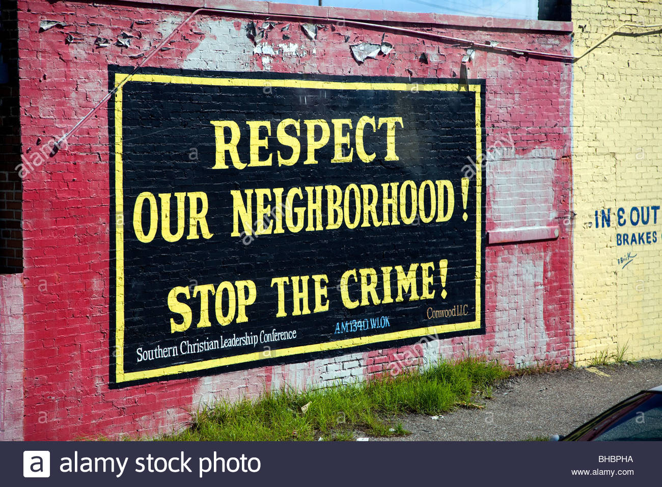 America Memphis respect our neighborhood stop the crime Tennessee United States of America US USA - Stock Image