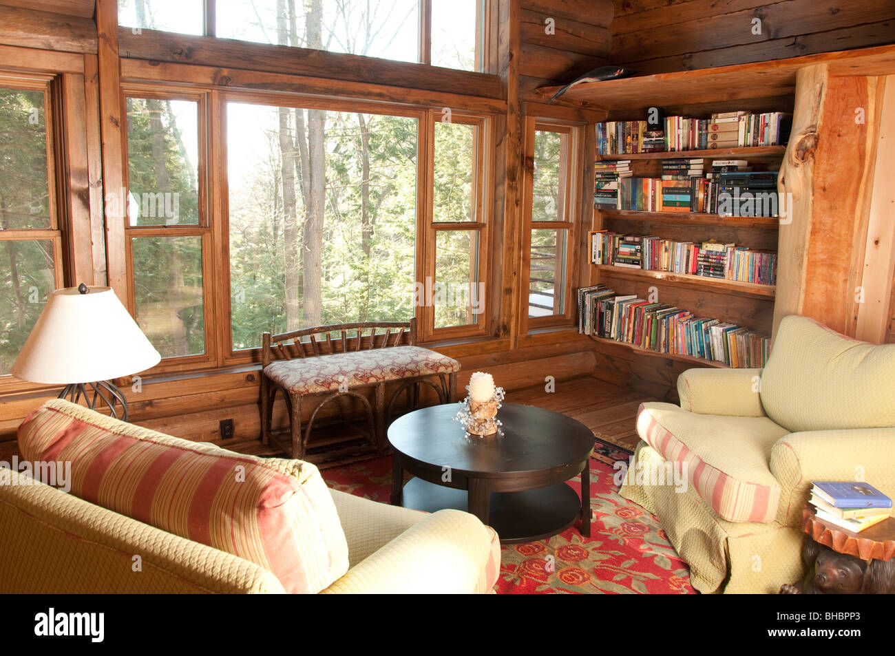 Comfortable Wood Elegant Country Home Setting Book Nook With Overstuffed  Chairs And Big Windows To View Outdoors
