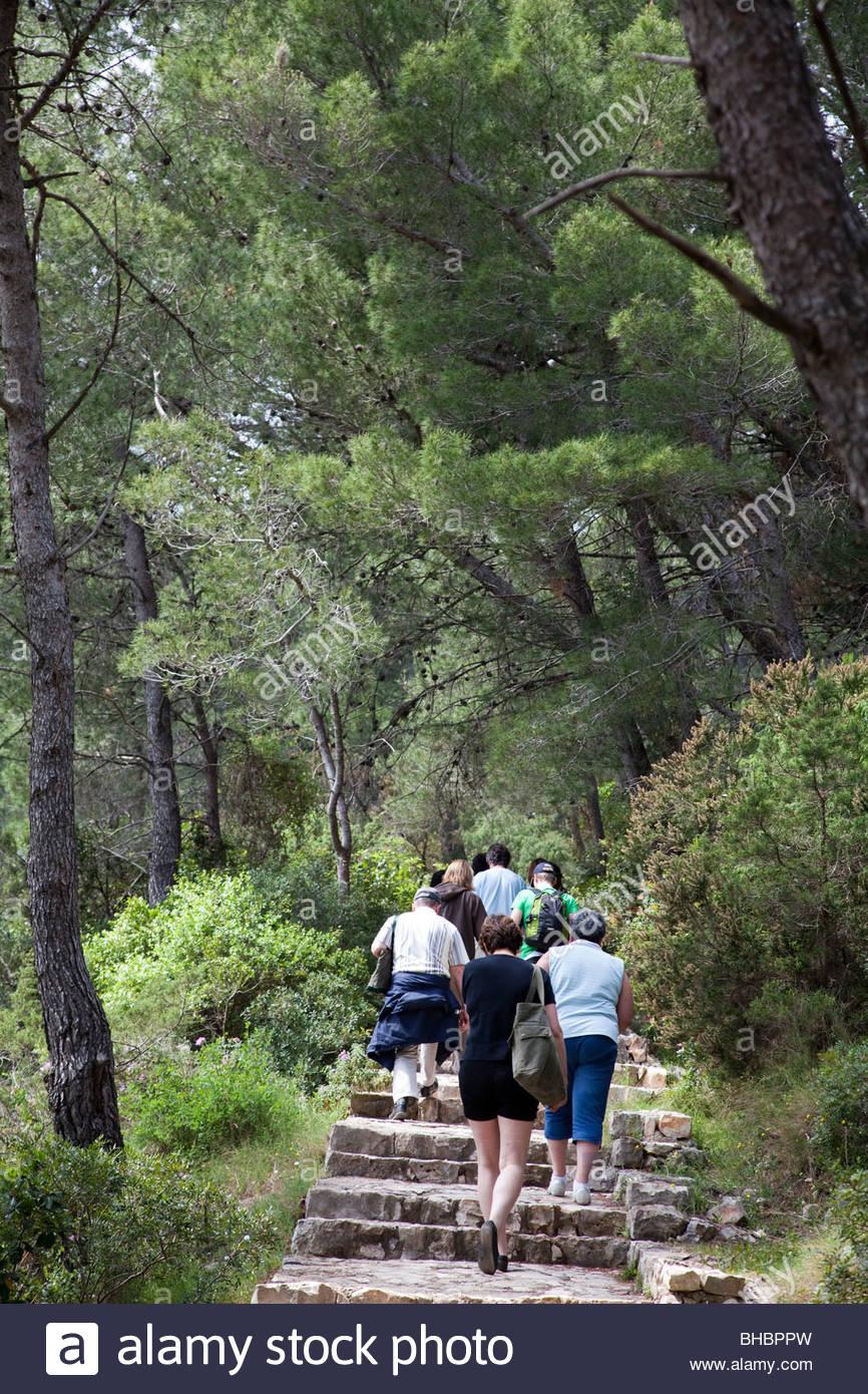 Adriatic Balkan Croatia Dalmatian Coast Europe European human humans island Mediterranean Mjlet National Park nature - Stock Image