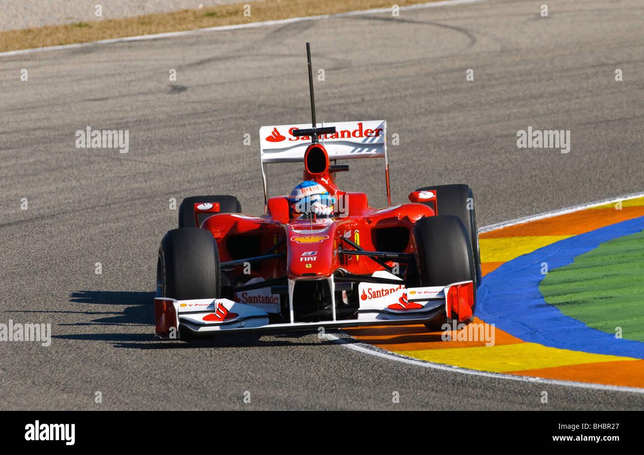 Fernando ALONSO (ESP) driving the Ferrari F10 Formula One racing car in February 2010 - Stock Image