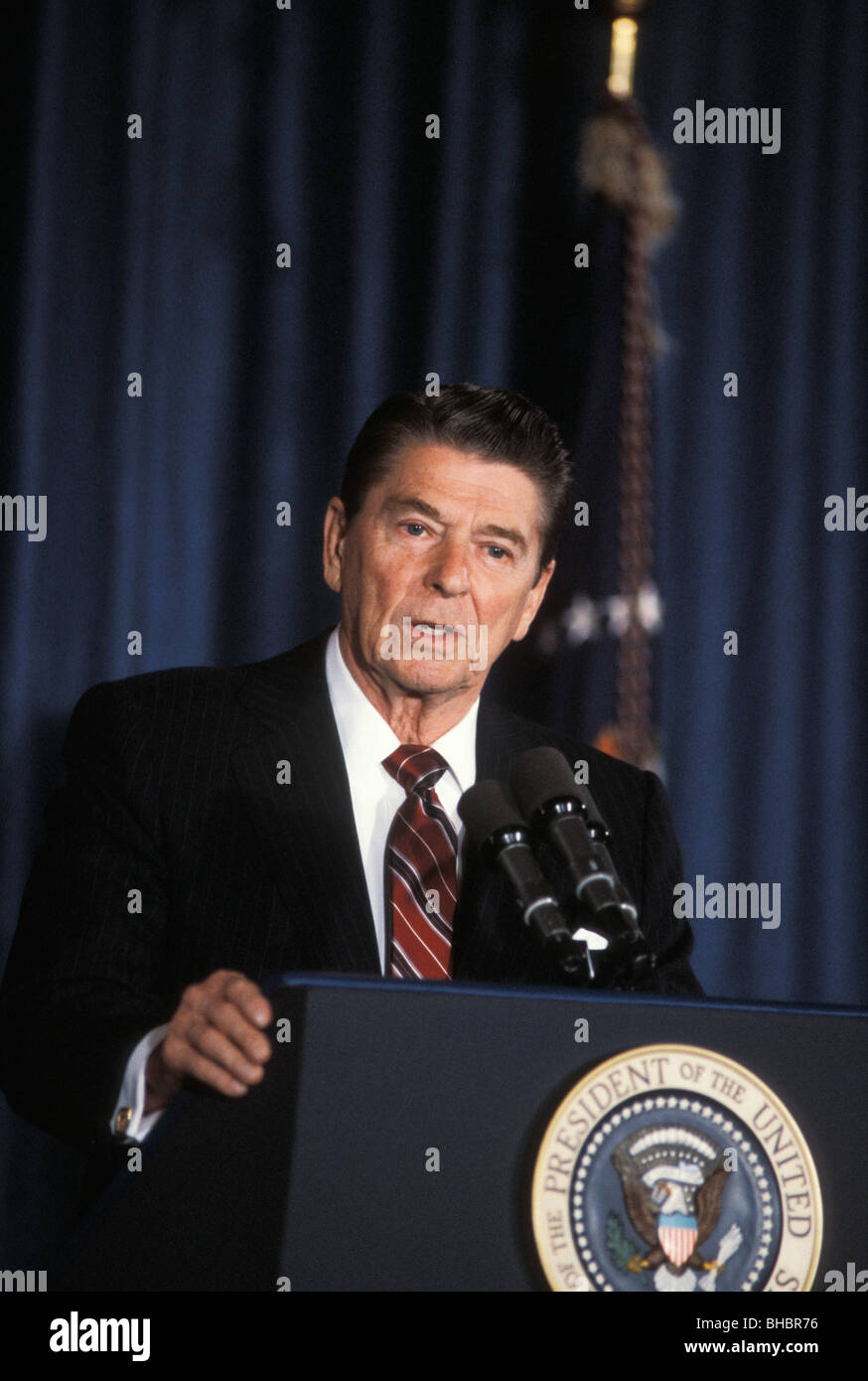 US President Ronald Reagan at press conference day after his reelection 1984 Los Angeles California - Stock Image