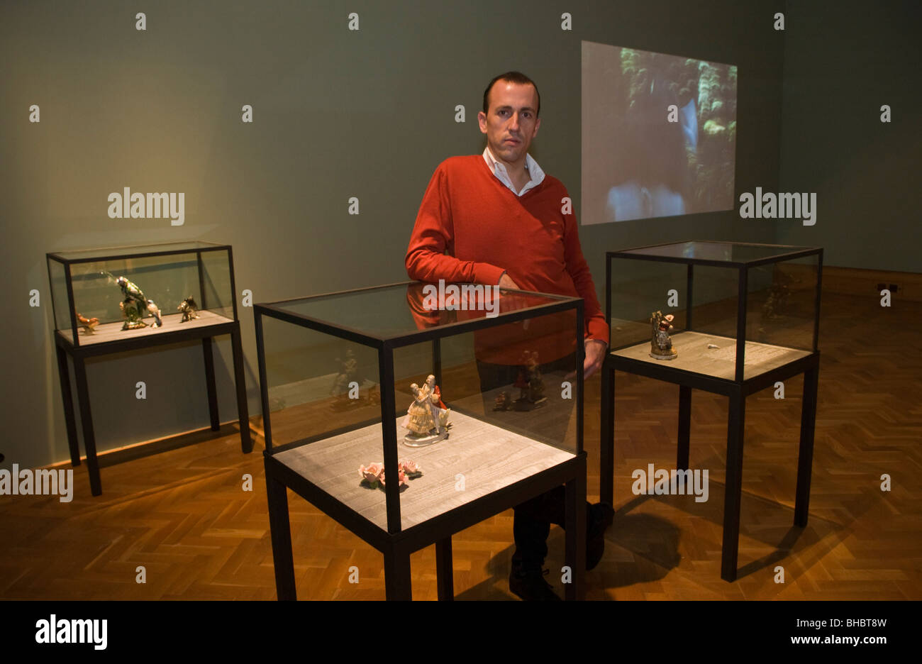 Portuguese artist Vasco Araujo with artwork on show at artes mundi 2008 Wales International Visual Art Exhibition - Stock Image