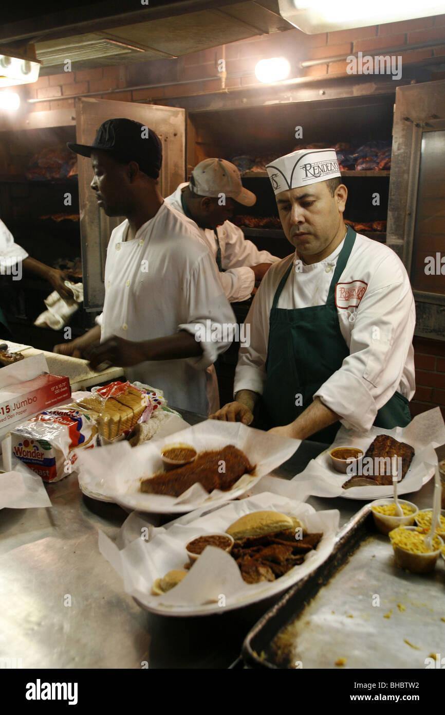 Kitchen, Charlie Vergos Rendezvous - Charcoal Ribs Restaurant, Memphis, Tennessee, USA Stock Photo