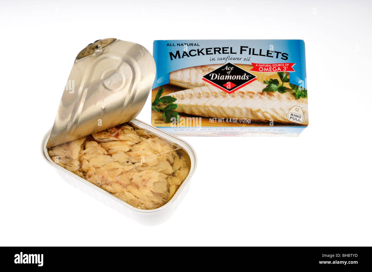 Open tin of mackerel fillets in safflower oil with packaging on white background. - Stock Image