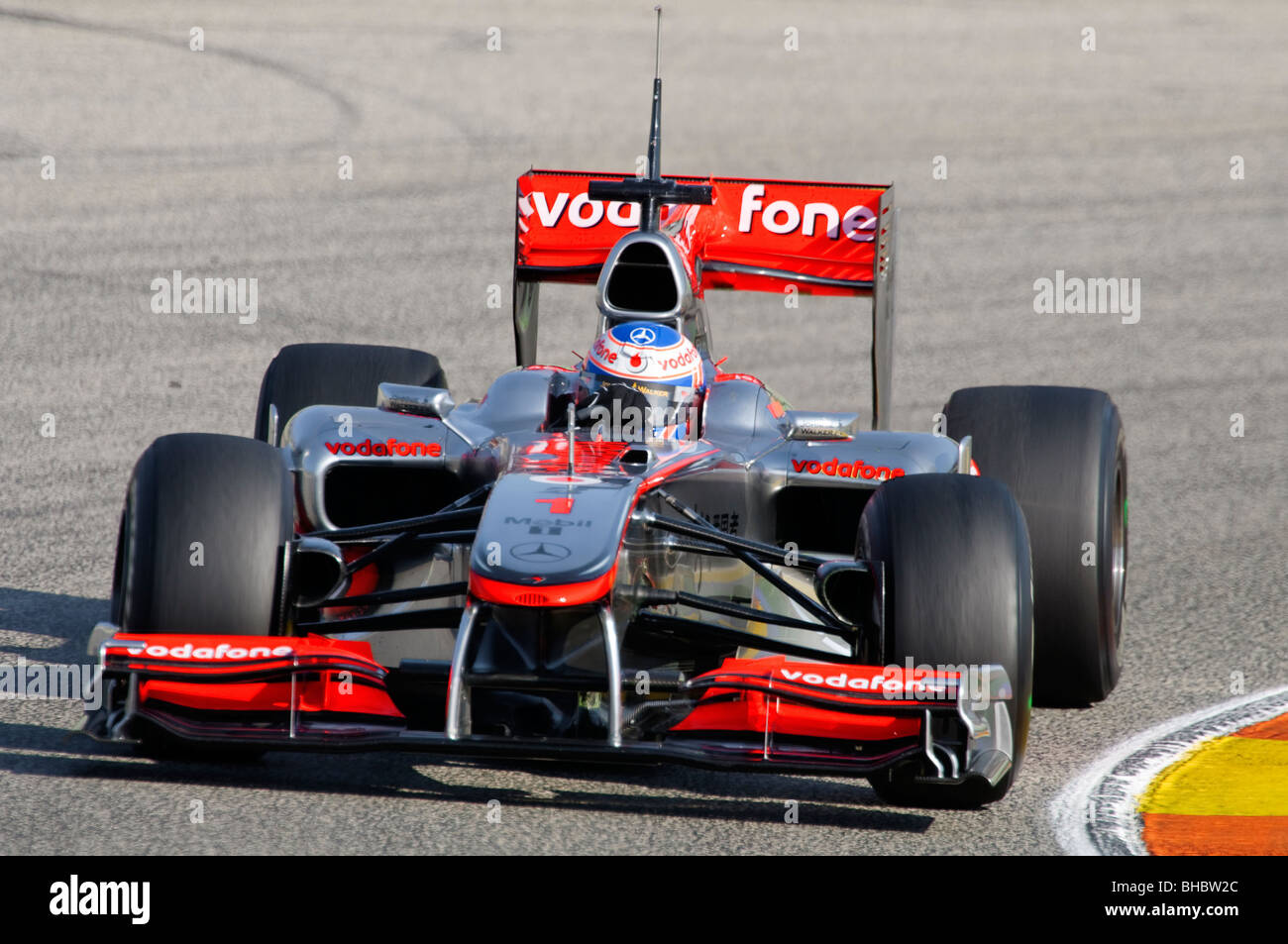 Jenson BUTTON (GB) drivng the  McLaren MP4-25 Formula One racing car in February 2010 - Stock Image