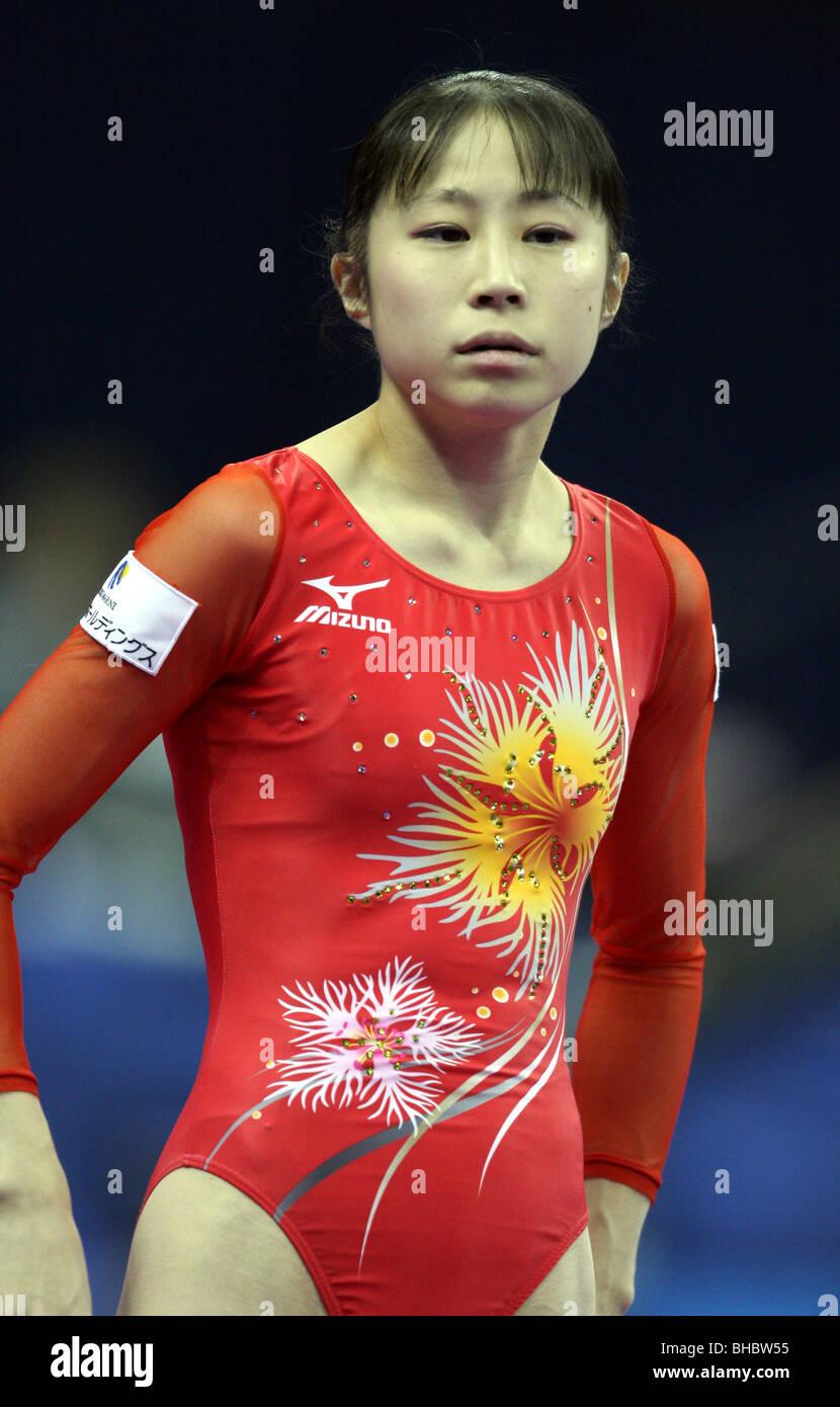 Koko Tsurumi  Miki Uemura japanese gymnast about to perform on beam at the 2009 world gymnastics championshipsStock Photo
