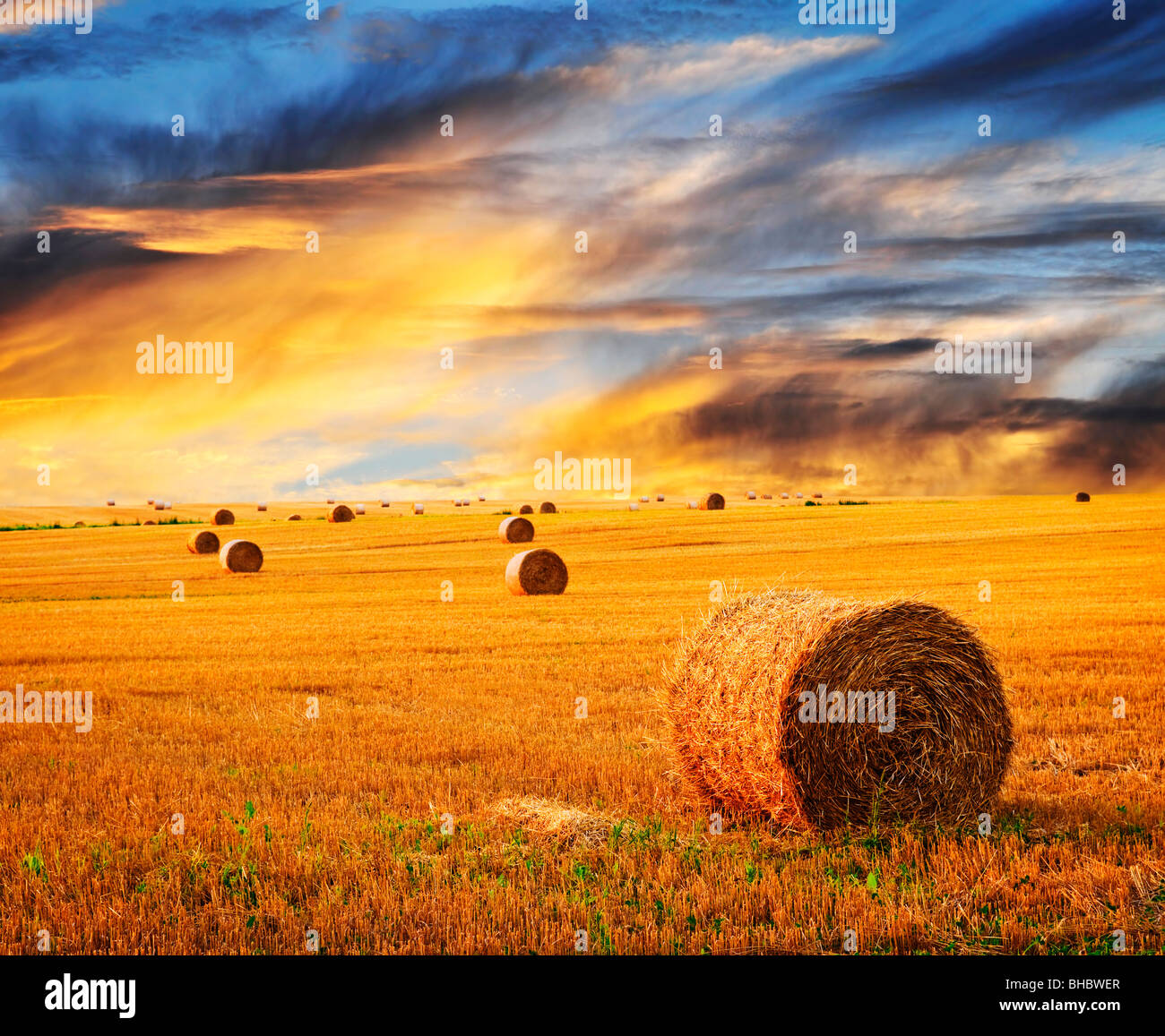 Golden sunset over farm field with hay bales Stock Photo