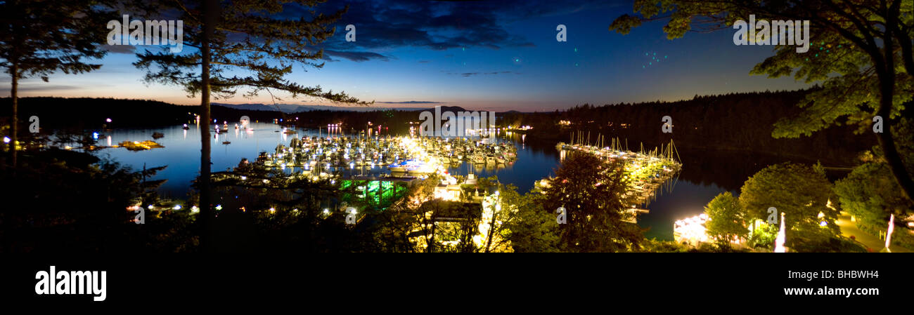 An evenings panoramic view out over Roche Harbor and Marina on San Juan Island in Washington State. This marina - Stock Image