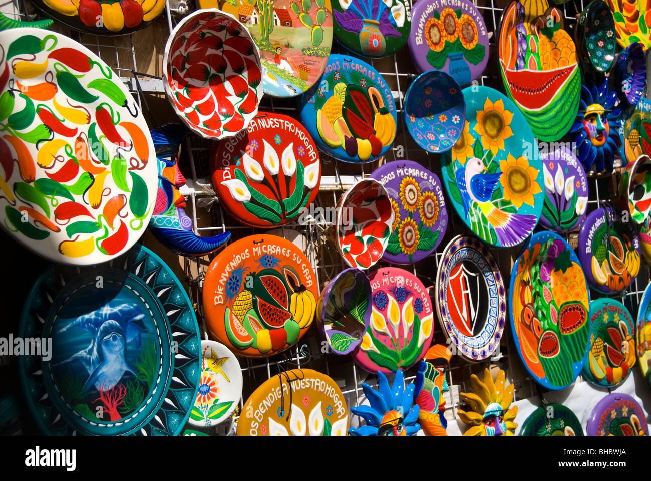 Ceramic plates for sale at the Jardin in Tlaquepaque Mexico & Ceramic plates for sale at the Jardin in Tlaquepaque Mexico Stock ...