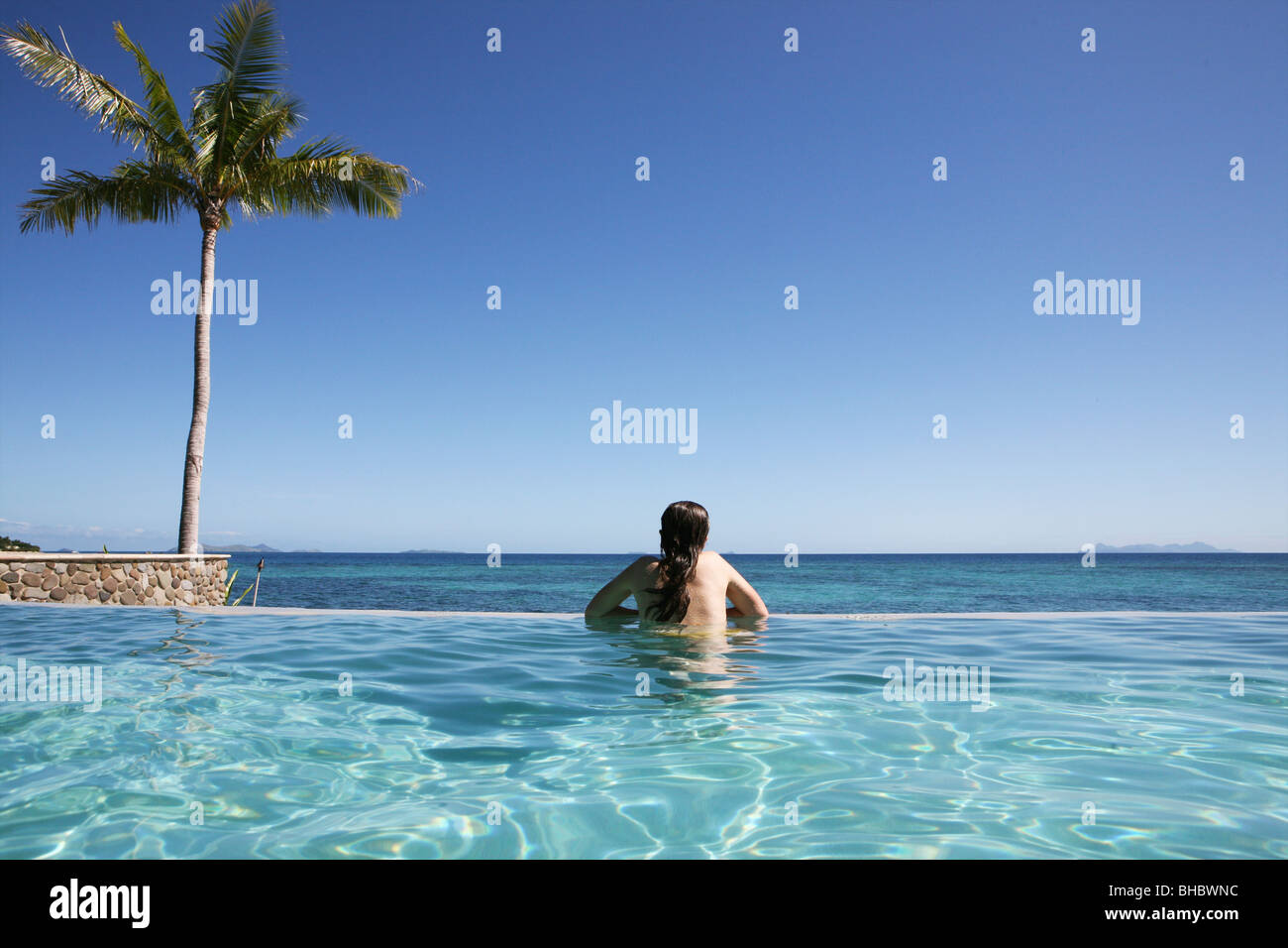 Fiji archipelago consists of 322 islands of which 106 are inhabited. Fiji's main source of income is tourism - Stock Image