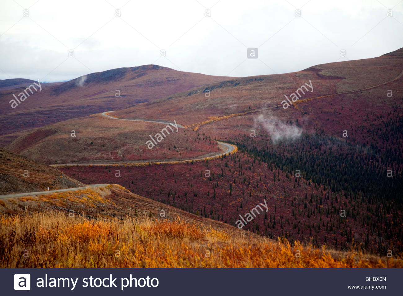 Canada canadian Top of the World Highway Yukon - Stock Image