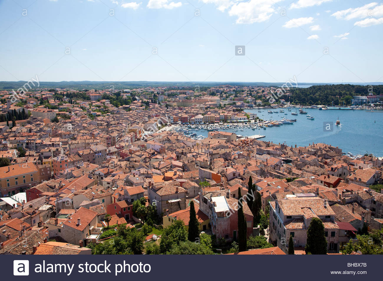 Croatia croatian Europe European Istria Mediterranean old overview roof roofs rooftop rooftops Rovinj town - Stock Image