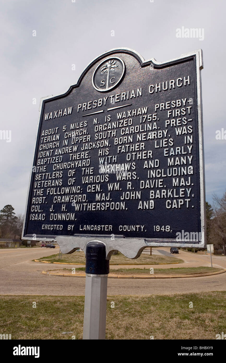About 3 miles W. is Waxhaw Presbyterian Church, organized 1755, first church in upper South Carolina. President - Stock Image