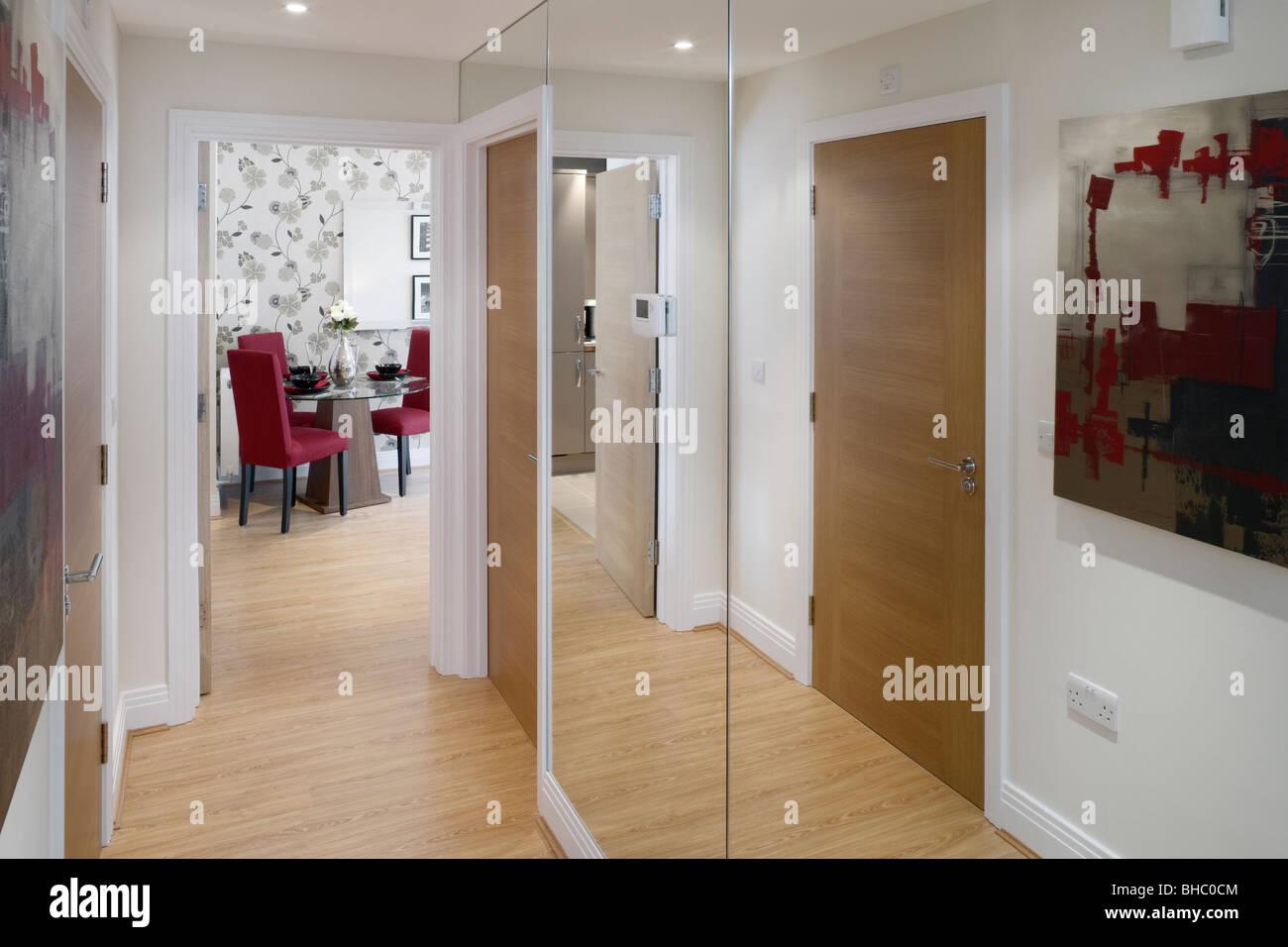 Hallway to dining room. 2008 interior design. - Stock Image
