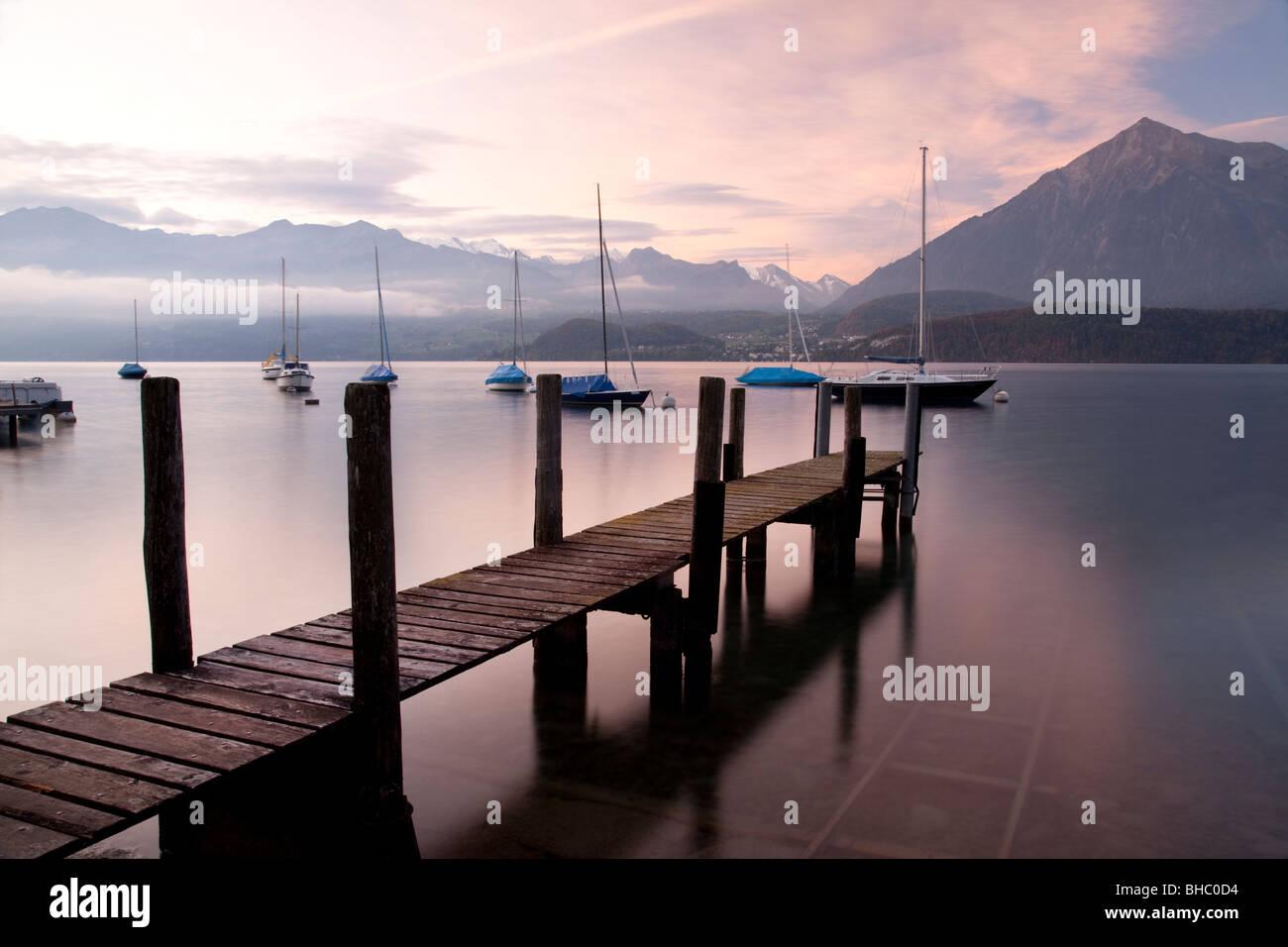 Wooden Landing Jetty on 'Lake Thun' Switzerland - Stock Image