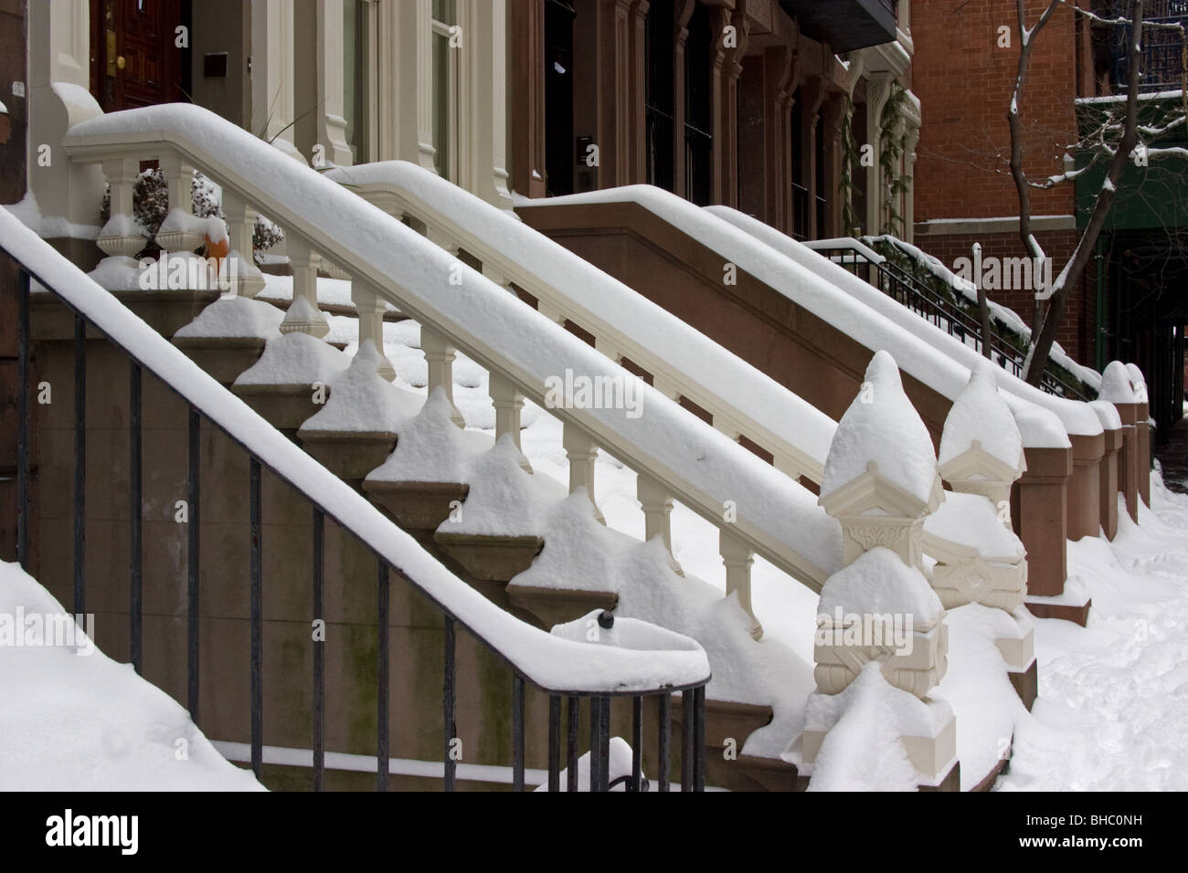 Snow covered stairways in Upper West - Stock Image