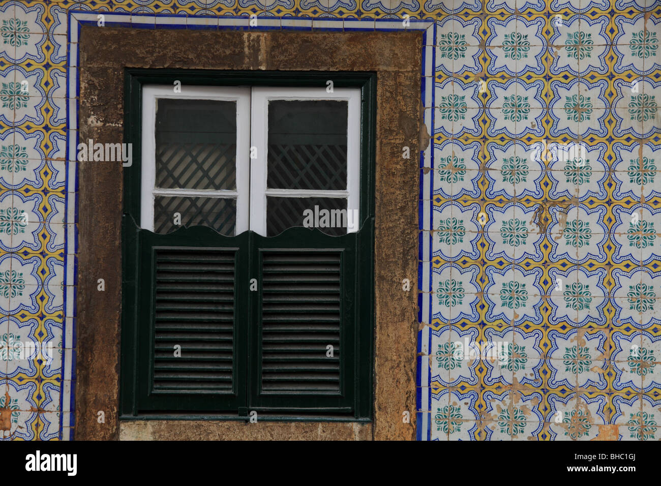 Traditional Lisbon housing with Azulejos tiles - Stock Image