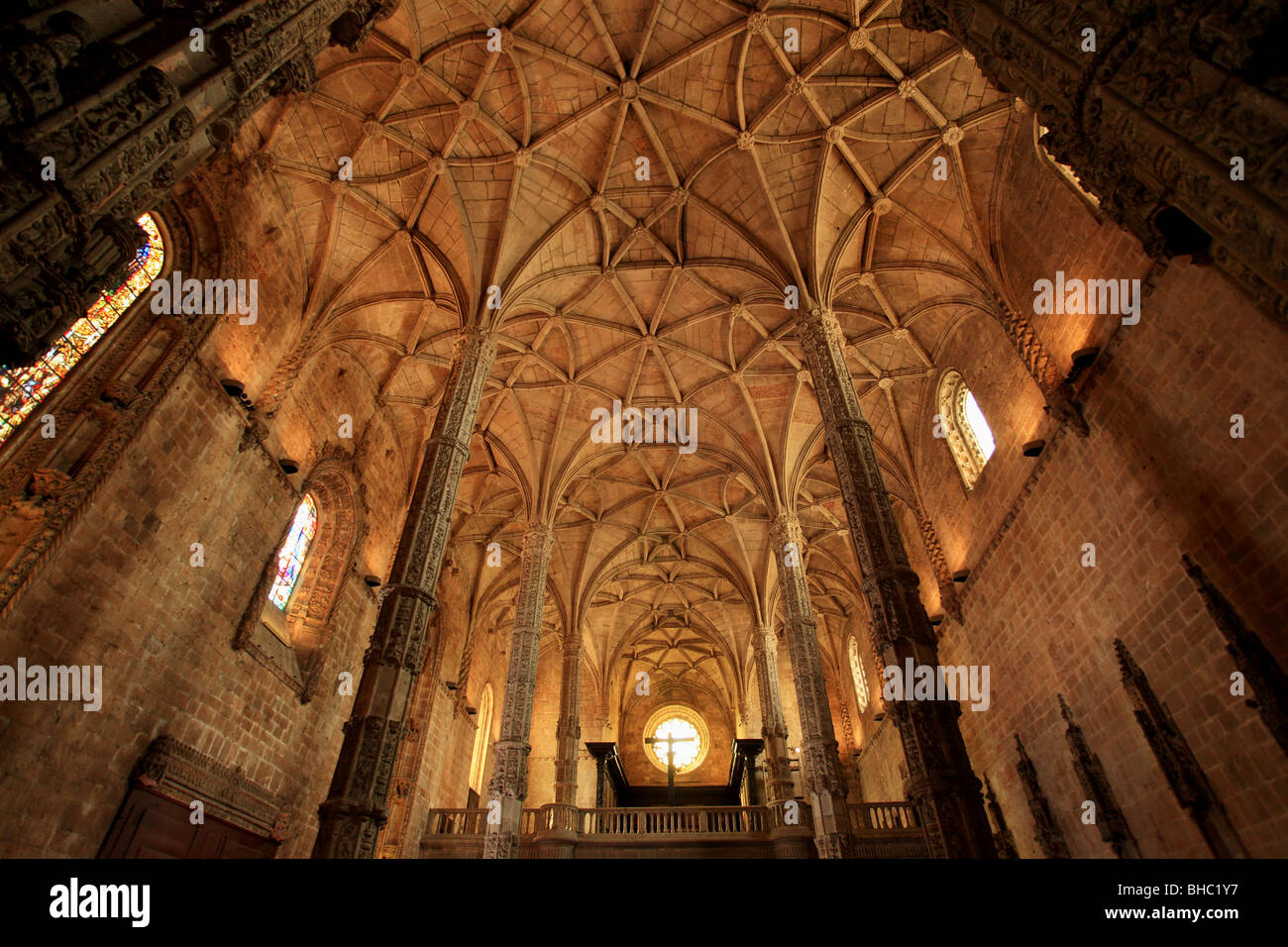 The interior of the monastery of Jeronimos dated between the 15th and 16th century is a UNESCO patrimony building - Stock Image