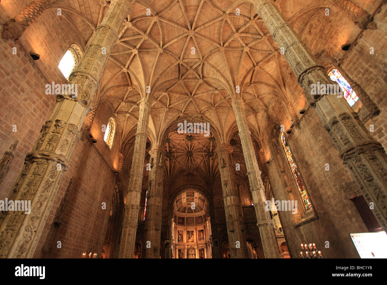 The interior of the monastery of Jeronimos dated between the 15th and 16th century is a UNESCO patrimony building Stock Photo