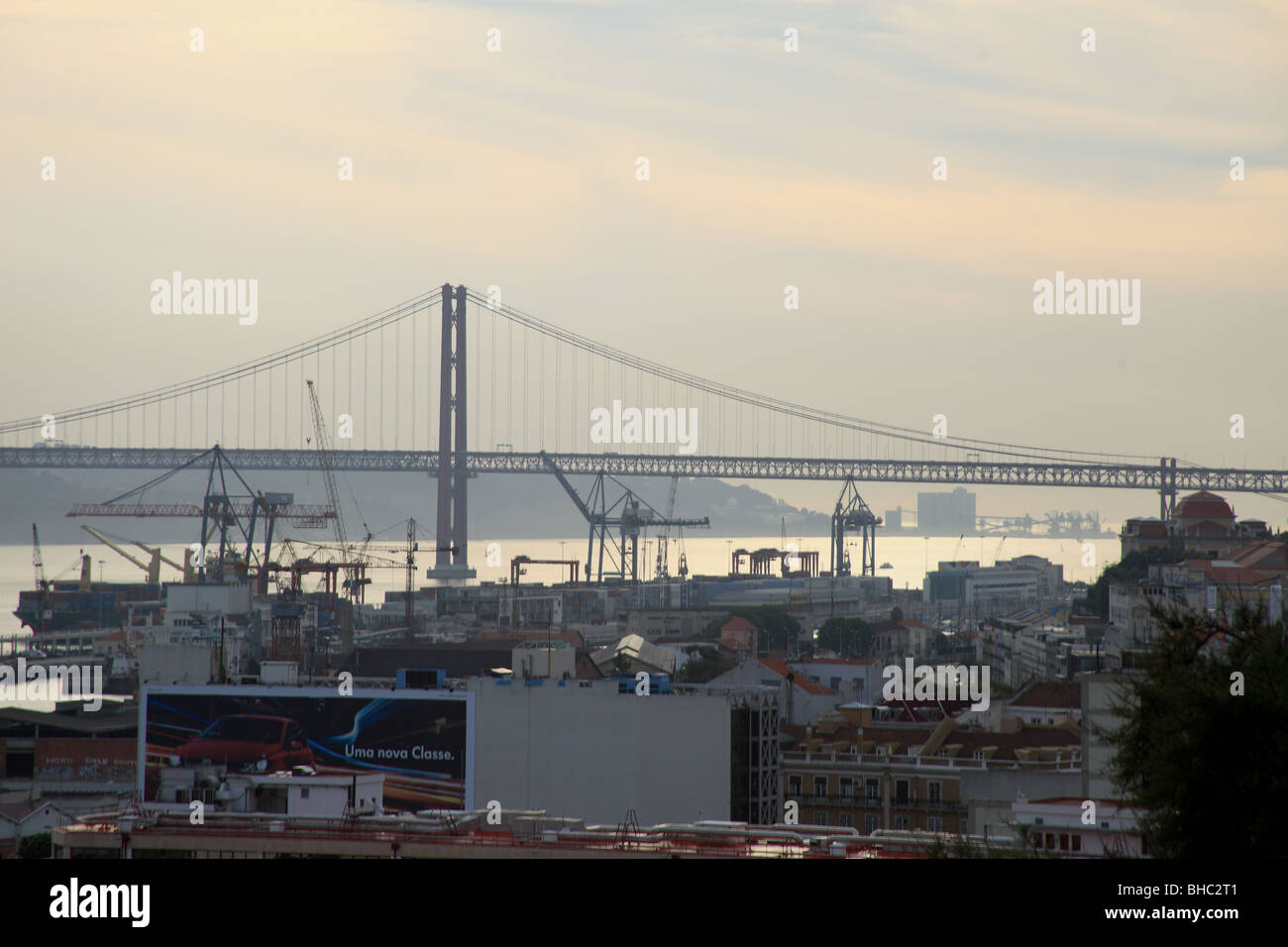 Viewpoint from Santa Catarina Miradouro overlooking the Tage river and the 25 April bridge - Stock Image