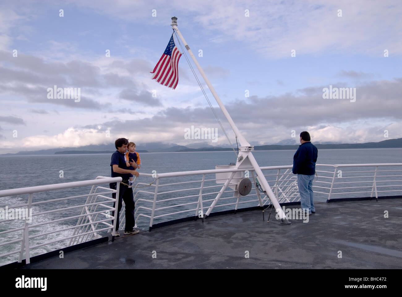 View from Sun Deck of the M/V Taku Ferry cruising the Inside Passage, Alaska - Stock Image