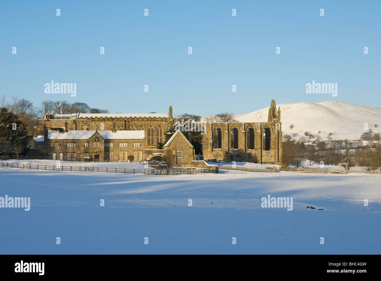 Bolton Abbey in winter, Wharfedale, North Yorkshire, England UK - Stock Image