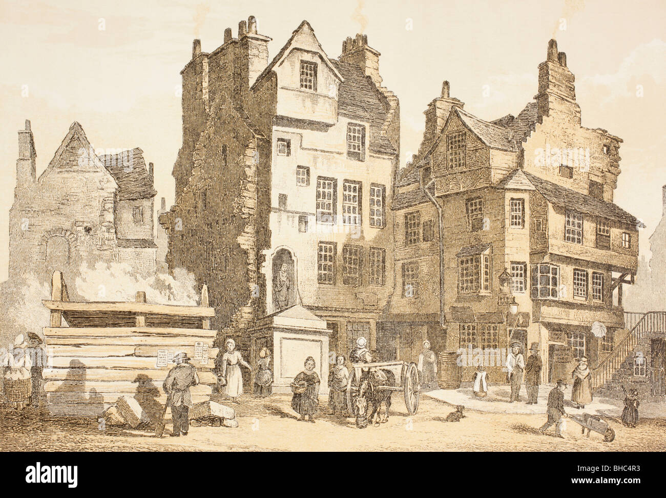 Netherbow House, Edinburgh, Scotland, as it was in 1843. Tradition says John Knox lived in it. Stock Photo