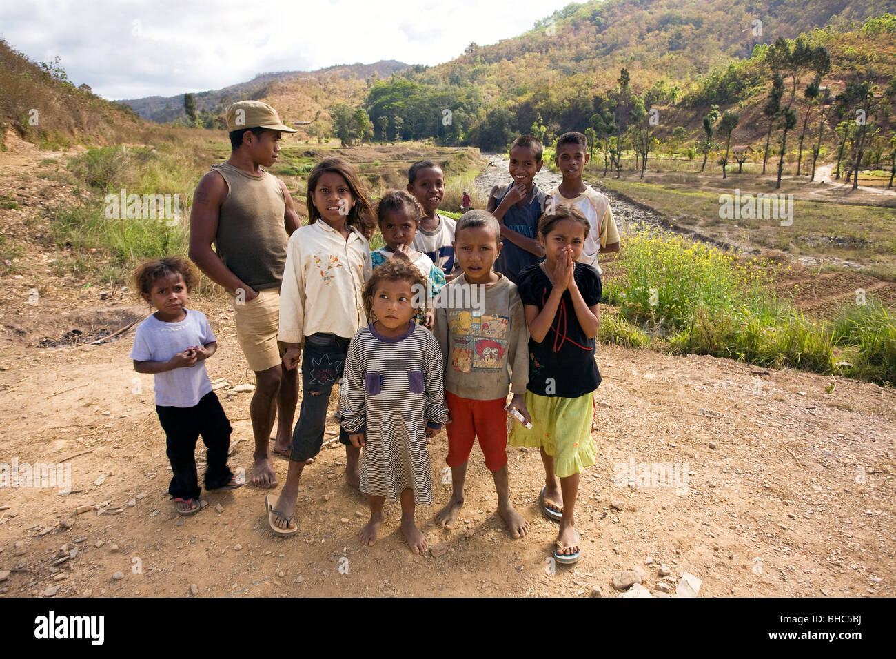 Group of children in remote western mountain valley in Alieu region East Timor - Stock Image
