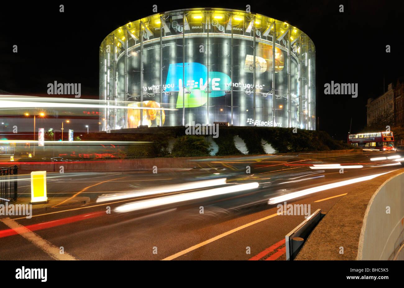 Light trails around the BFI IMAX cinema, Waterloo, London SE1, United Kingdom - Stock Image