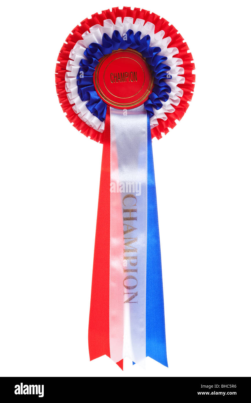 Rosette with the word Champion isolated on a white background - Stock Image