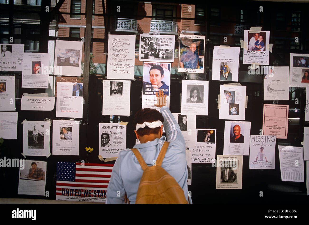 Relatives and friends remember the missing a week after the attacks on the twin towers on 9/11. - Stock Image