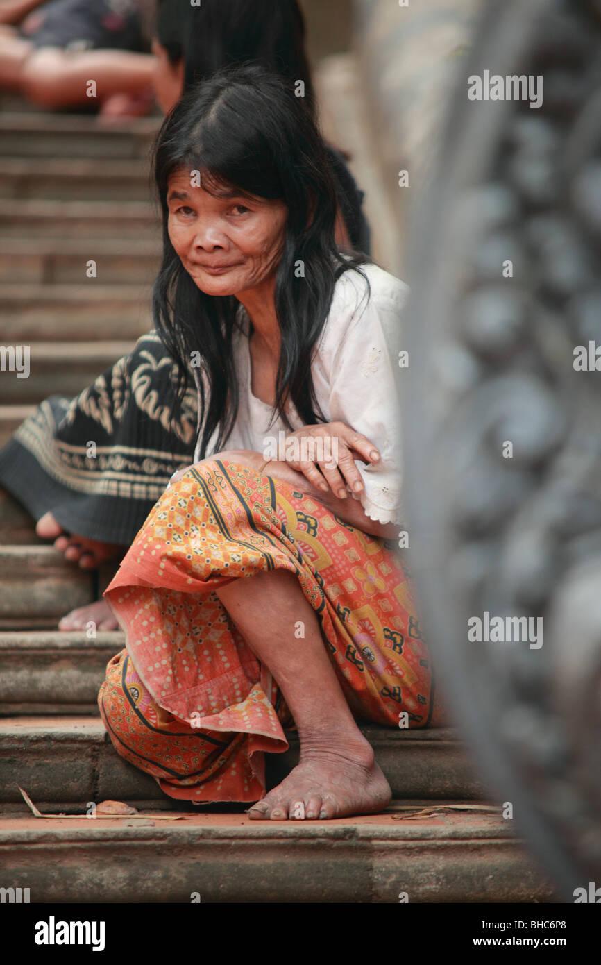 Beggar at Phnom Kulen in Cambodia - Stock Image