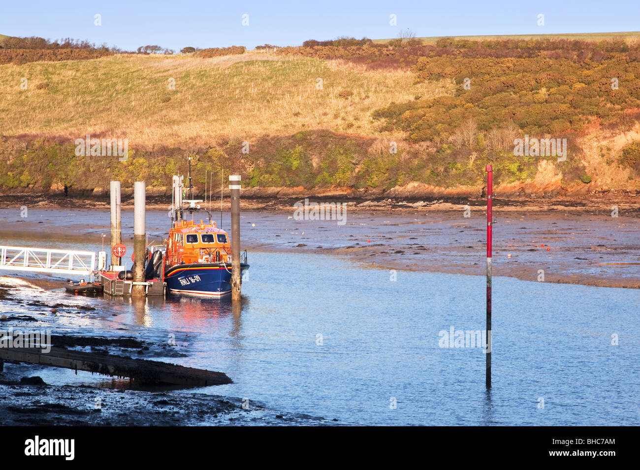 The RNLI Lifeboat Baltic Exchange III moored up in Salcombe Harbour, South Devon, England. - Stock Image