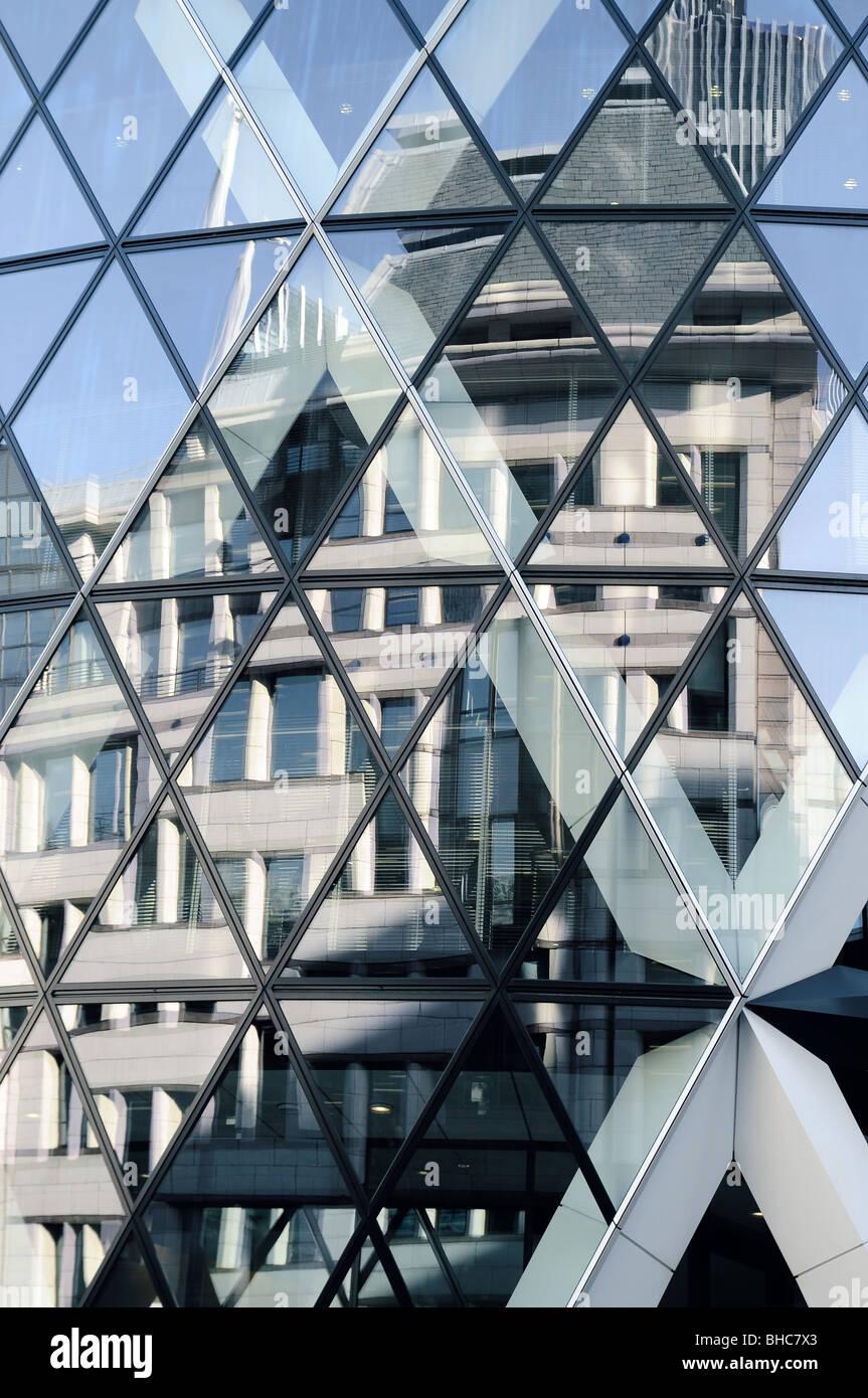 Close up of office windows in a modern sky scraper - Stock Image