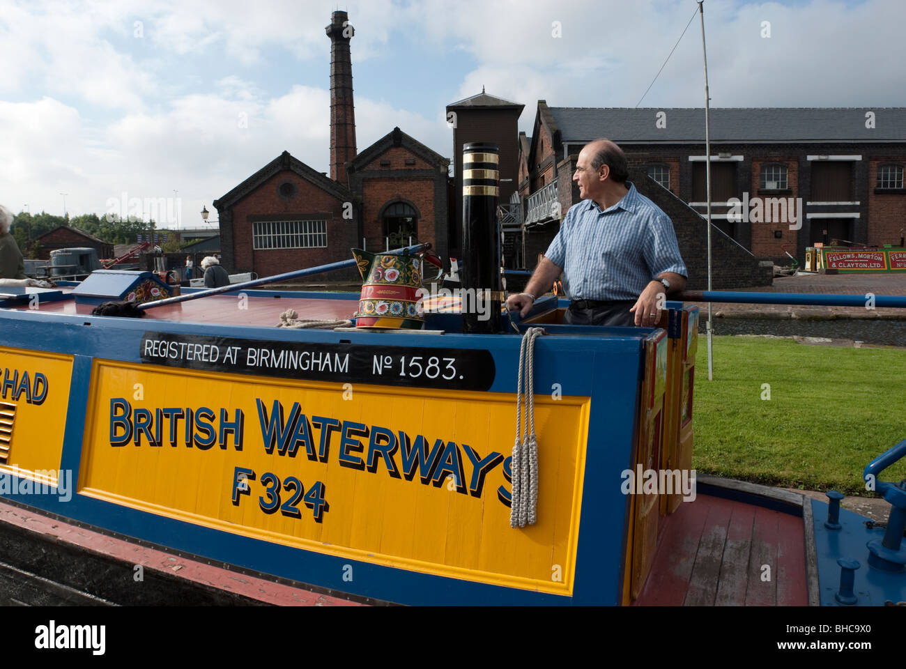 Hercule Poirot David Suchet Actor on Canal boat - Stock Image