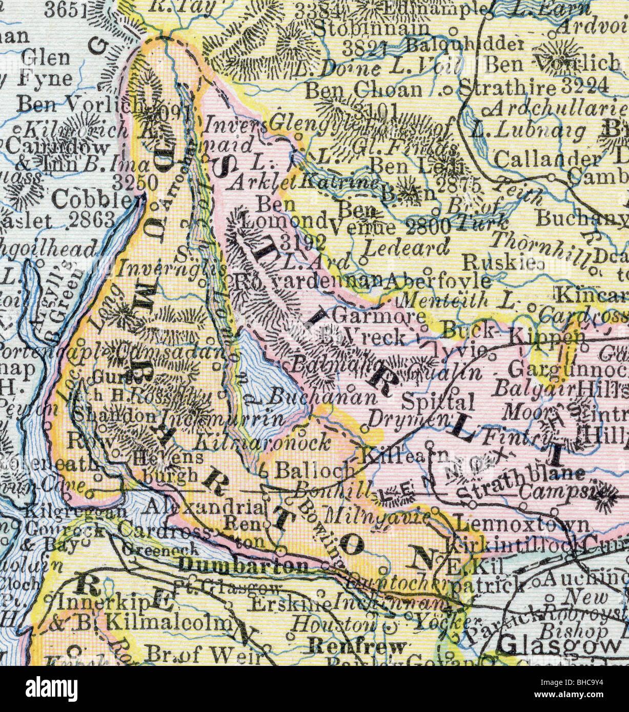 Original Old Map Scotland From Stock Photos & Original Old Map ...