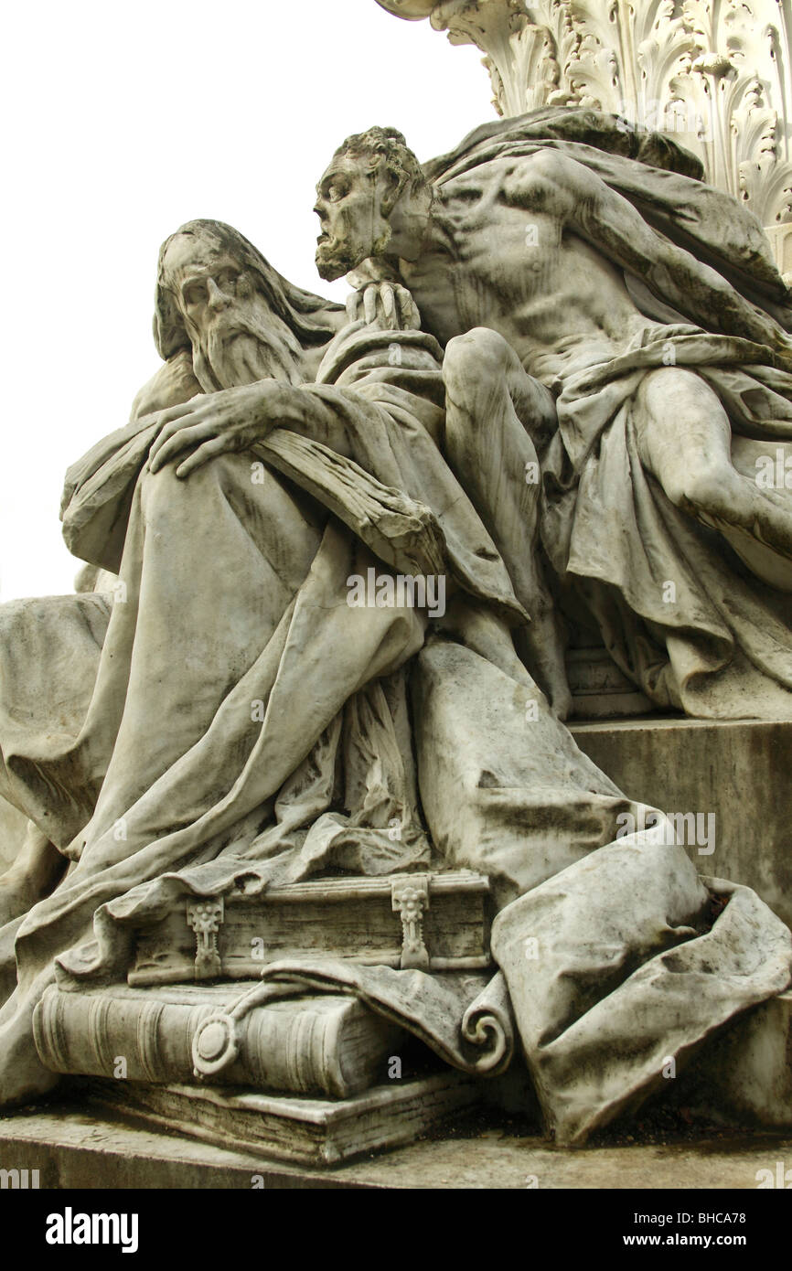 Mephistopheles tempting Doctor Faust. Detail of the Monument to Goethe in Villa Borghese, Rome. - Stock Image