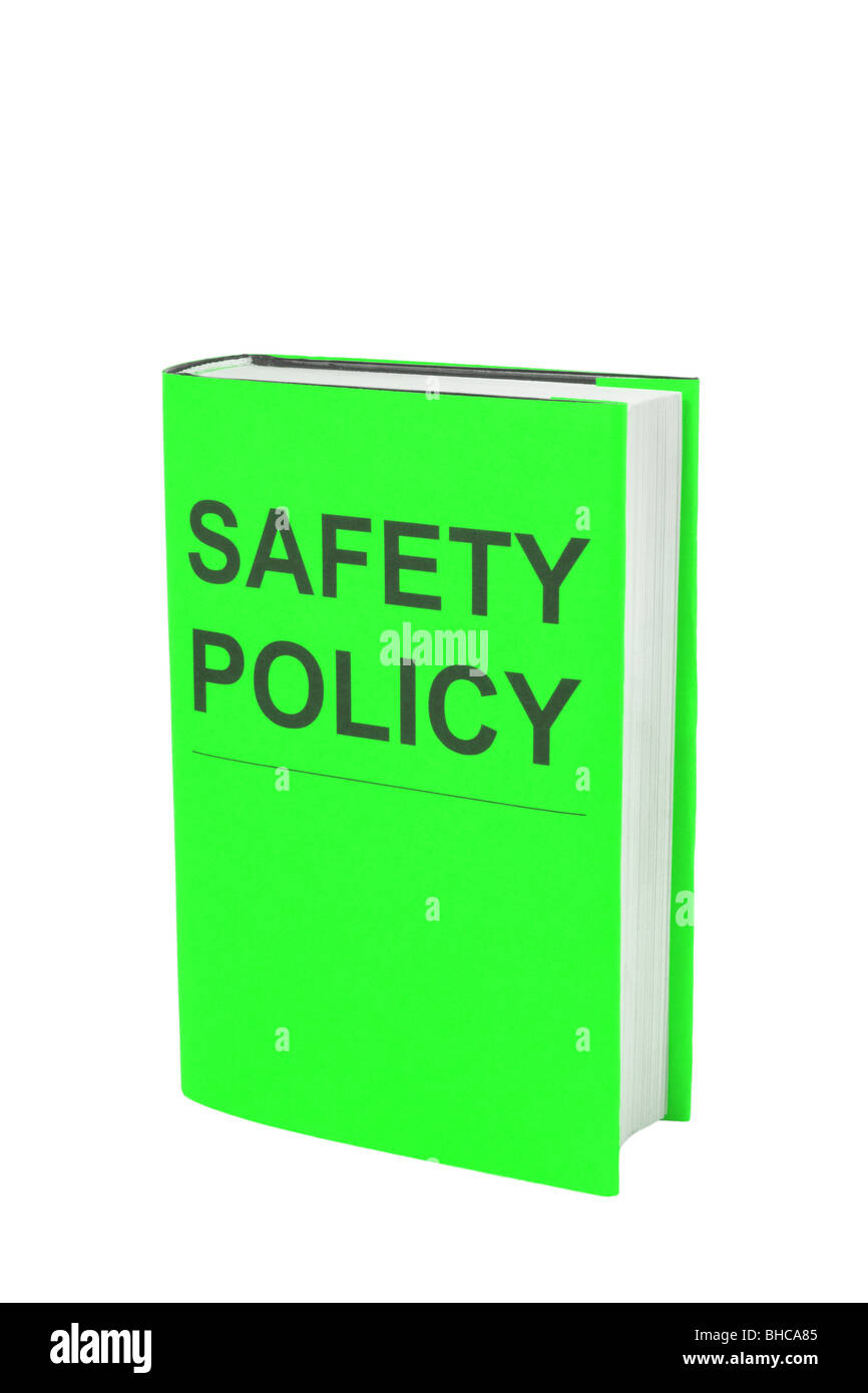 Book with green cover that says Safety Policy. Cut out on white background - Stock Image